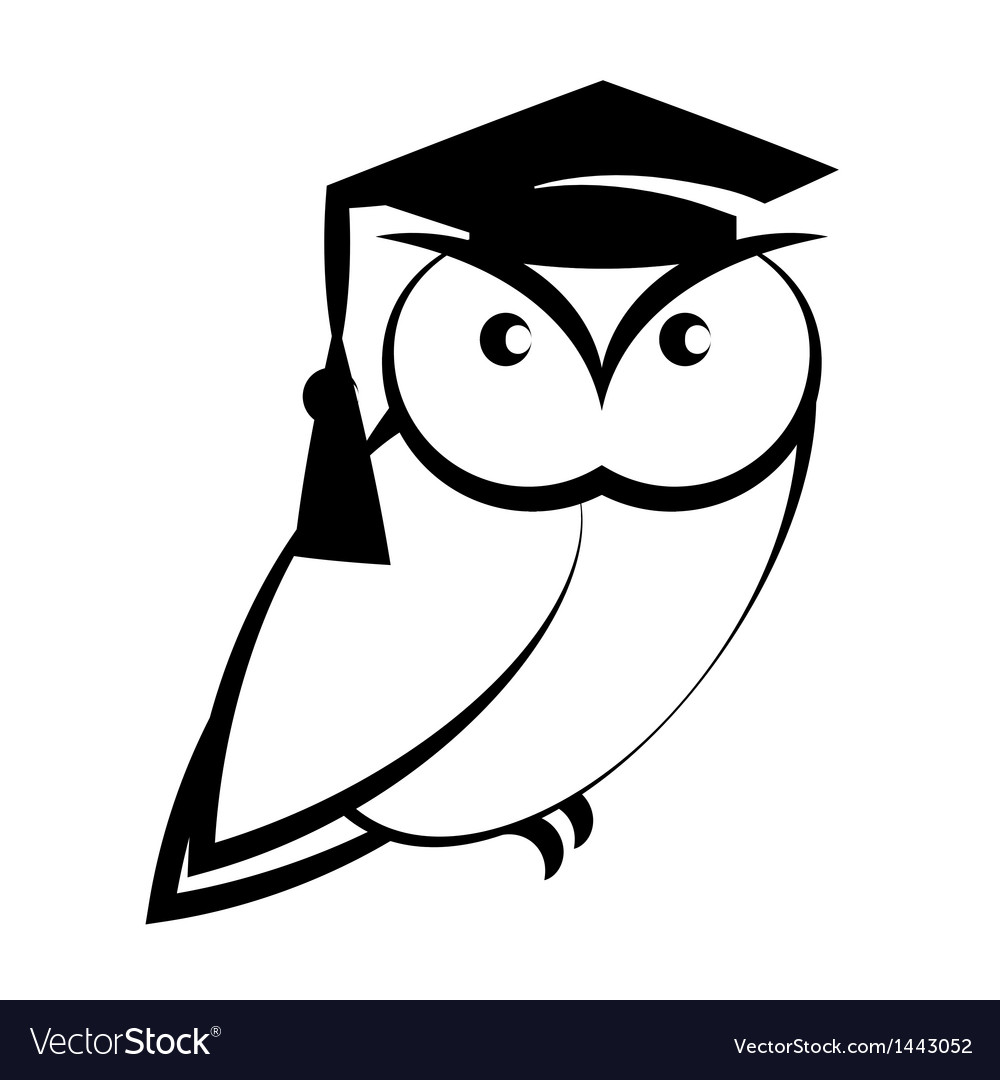 Owl with college hat vector | Price: 1 Credit (USD $1)