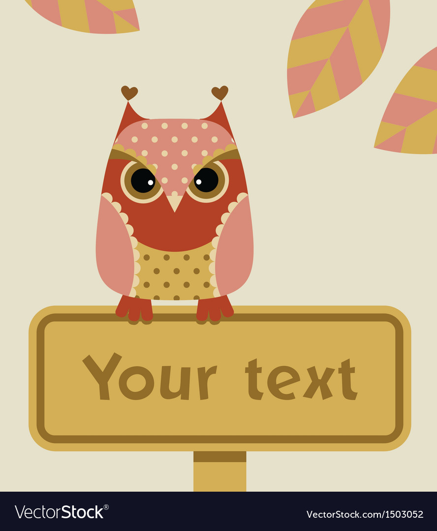 Owl with sign vector | Price: 1 Credit (USD $1)