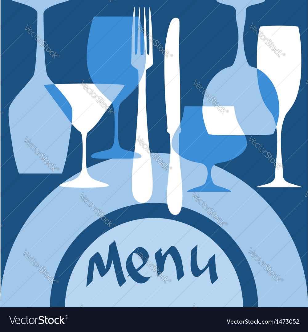 Restaurant menu cover with dishware vector | Price: 1 Credit (USD $1)