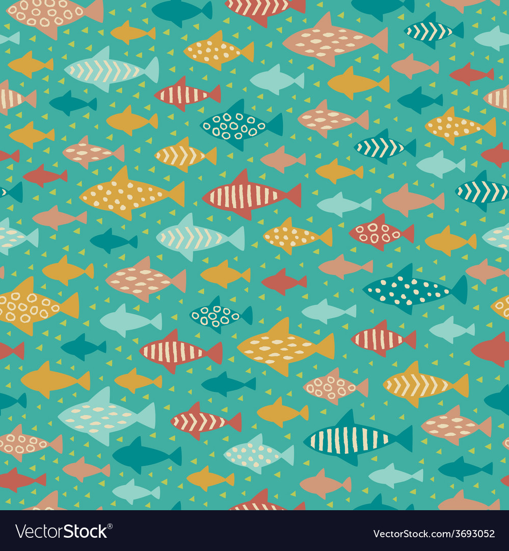 Seamless summer decorative fish pattern vector | Price: 1 Credit (USD $1)