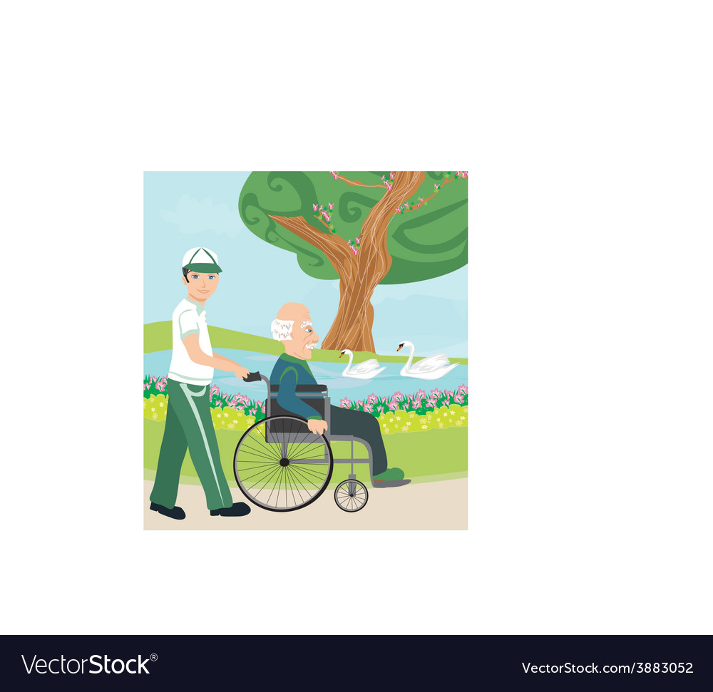 Son pushing senior father on wheelchair outdoors vector | Price: 1 Credit (USD $1)