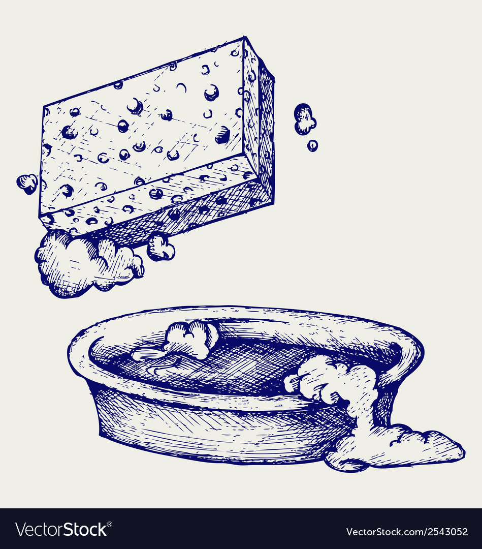 Sponge and bowl of water vector | Price: 1 Credit (USD $1)