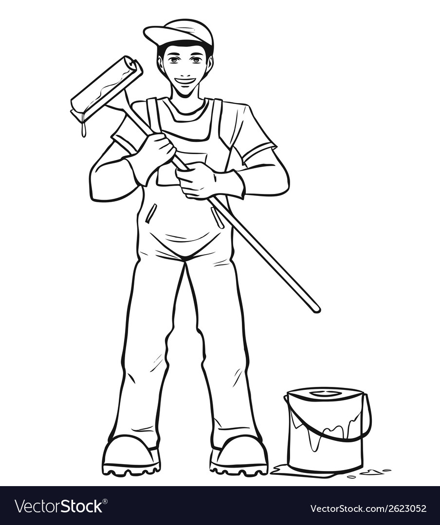Worker in his equipment vector | Price: 1 Credit (USD $1)