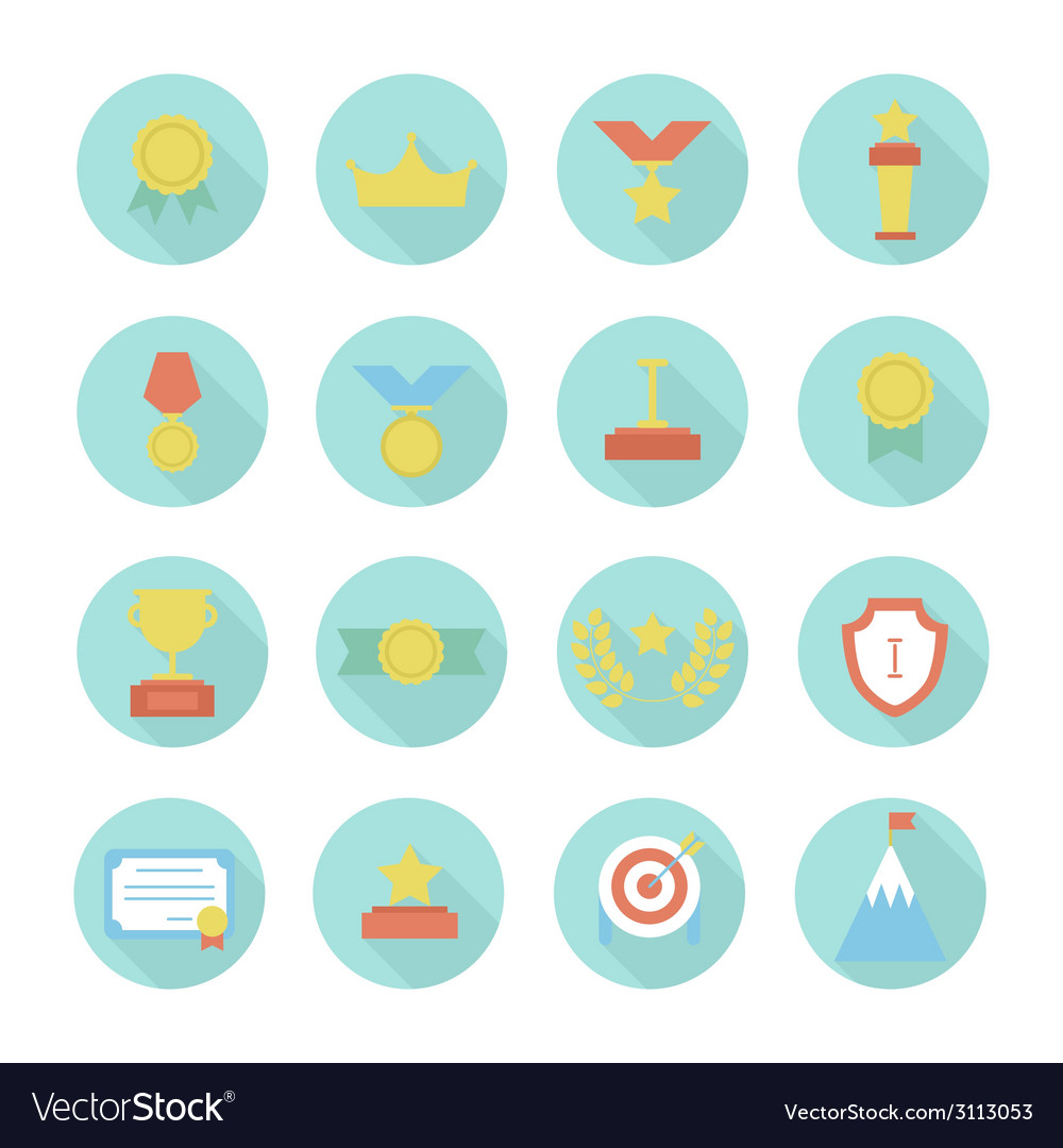 Award icons colorful set of prizes and trophy vector | Price: 1 Credit (USD $1)