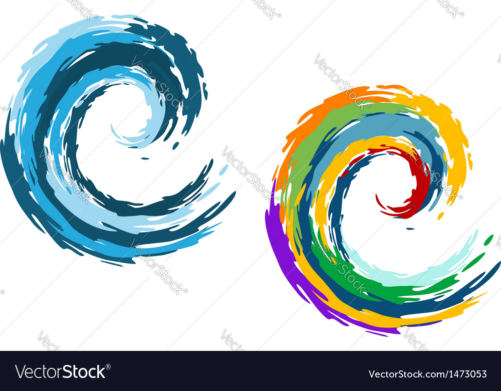 Blue and colorful ocean waves vector | Price: 1 Credit (USD $1)