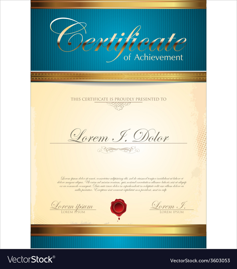 Blue and gold certificate template vector | Price: 1 Credit (USD $1)