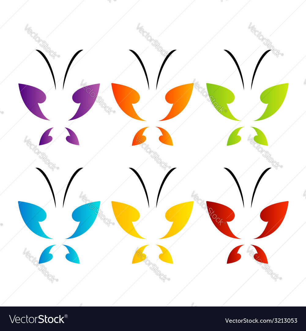 Butterfly logo in rainbow colors vector | Price: 1 Credit (USD $1)
