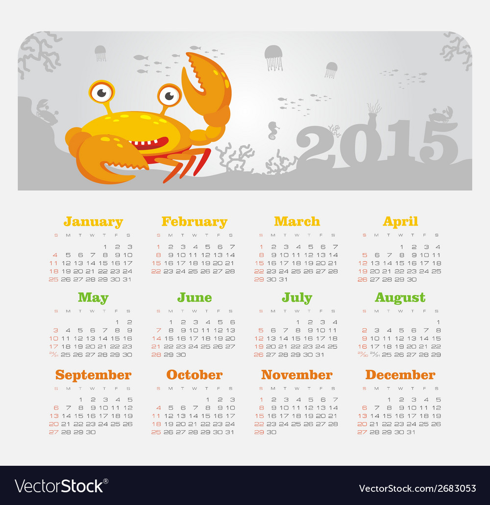 Calendar 2015 year with crab vector | Price: 1 Credit (USD $1)
