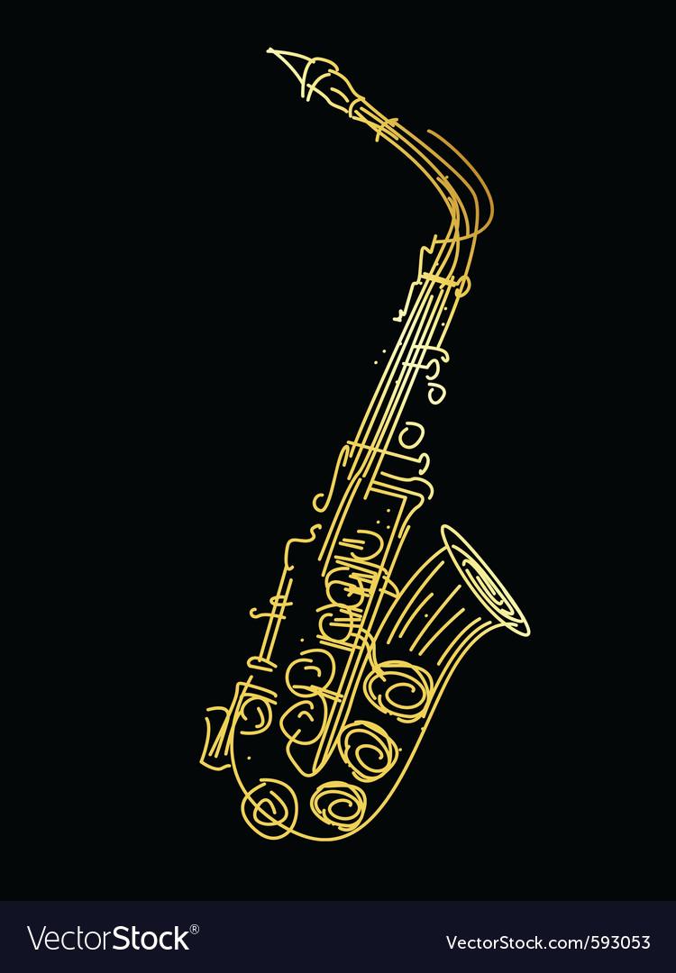 Golden saxophone vector | Price: 1 Credit (USD $1)