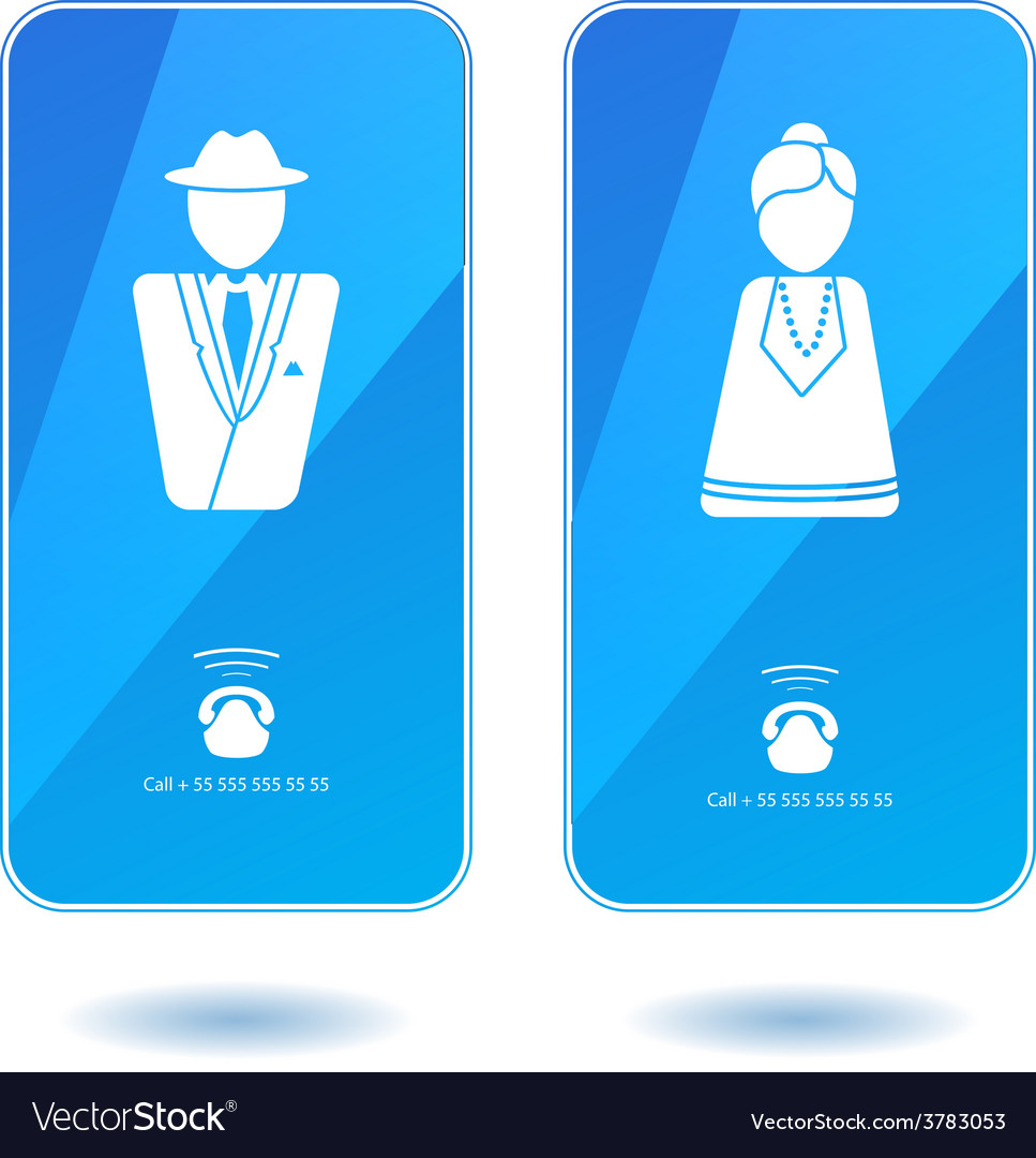 Icons of dialing mister and missis on screen vector | Price: 1 Credit (USD $1)