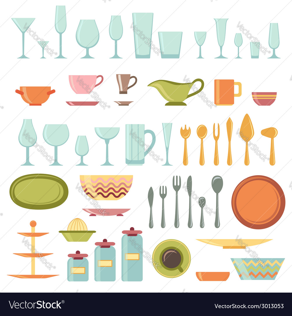 Kitchen utensils and cookware icons set vector | Price: 1 Credit (USD $1)