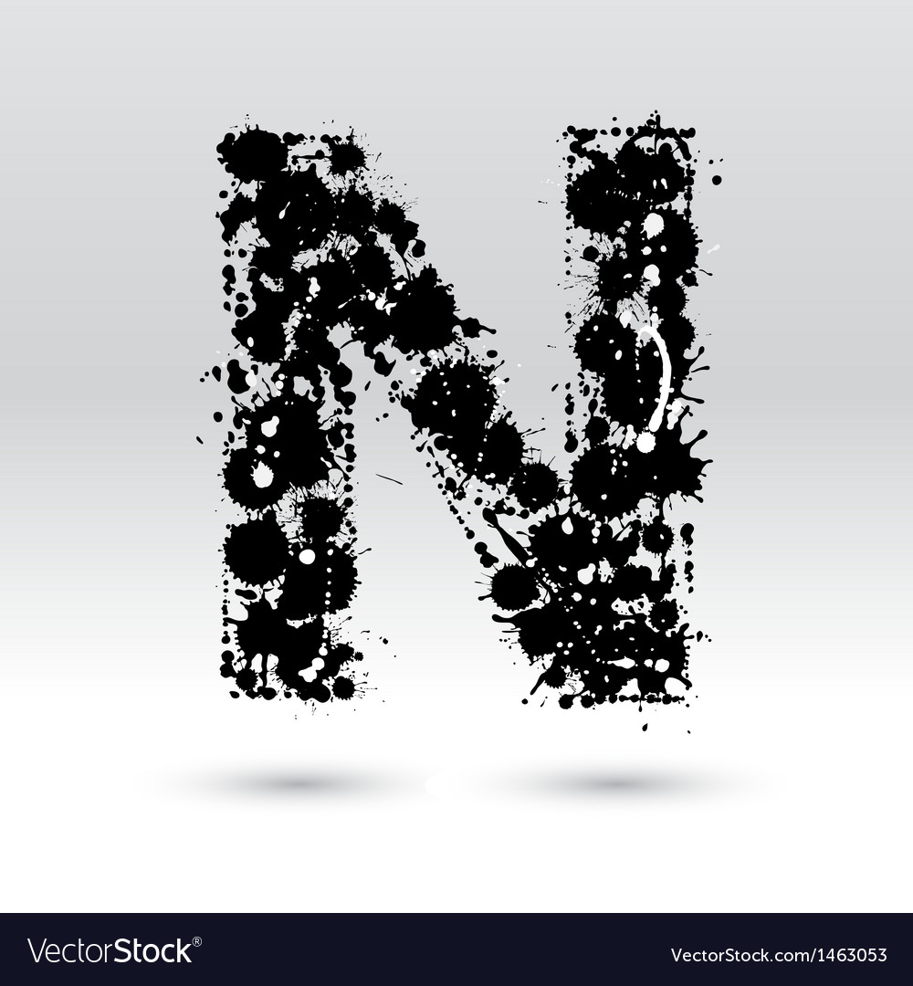 Letter n formed by inkblots vector | Price: 1 Credit (USD $1)