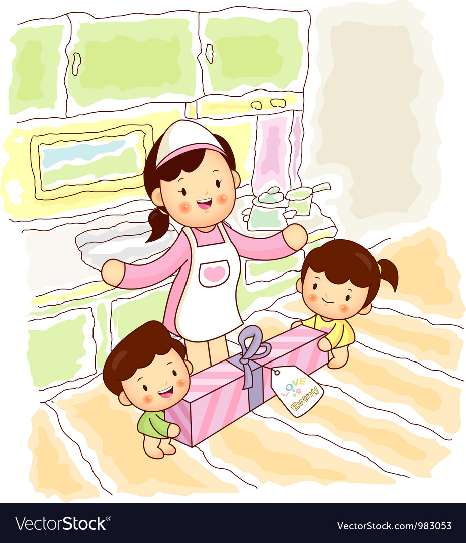 Mother and children vector | Price: 3 Credit (USD $3)