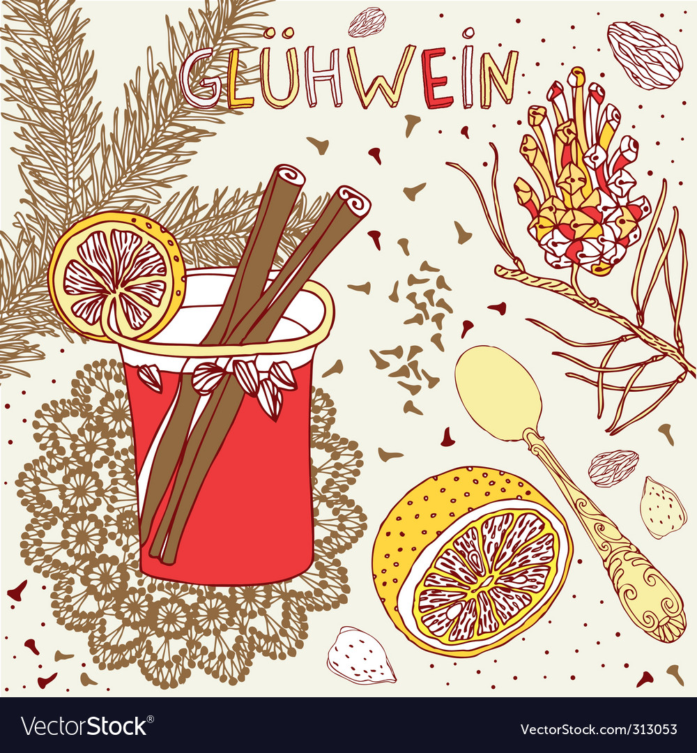 Mulled wine nuts and spices vector | Price: 1 Credit (USD $1)
