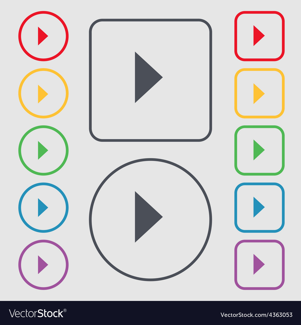 Play button icon sign symbol on the round and vector | Price: 1 Credit (USD $1)