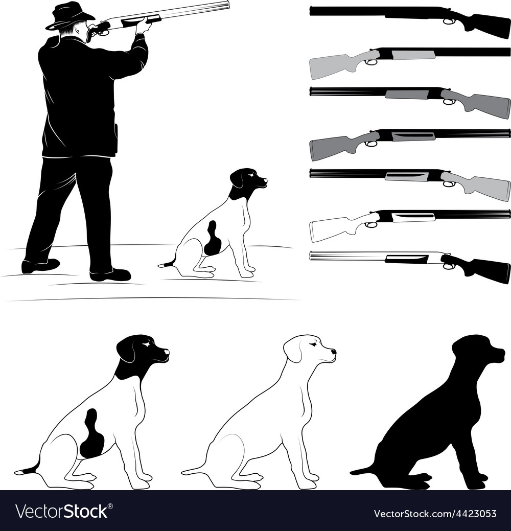 Set of for hunters vector | Price: 1 Credit (USD $1)