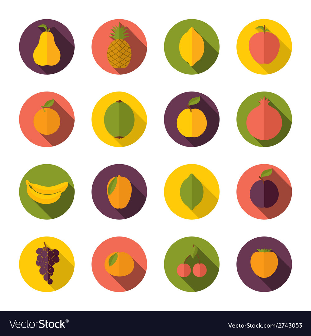 Set of fruits icons vector | Price: 1 Credit (USD $1)