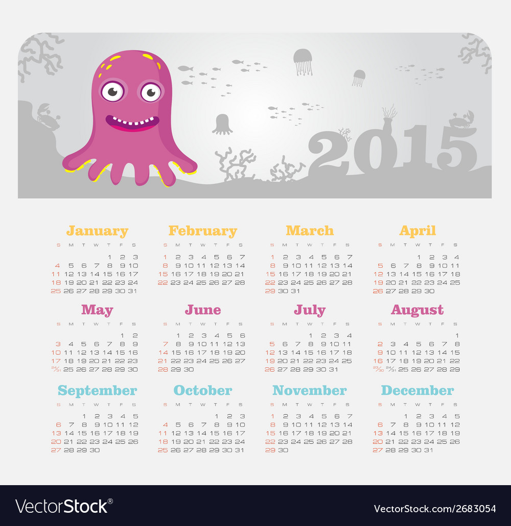 Calendar 2015 year with octopus vector | Price: 1 Credit (USD $1)