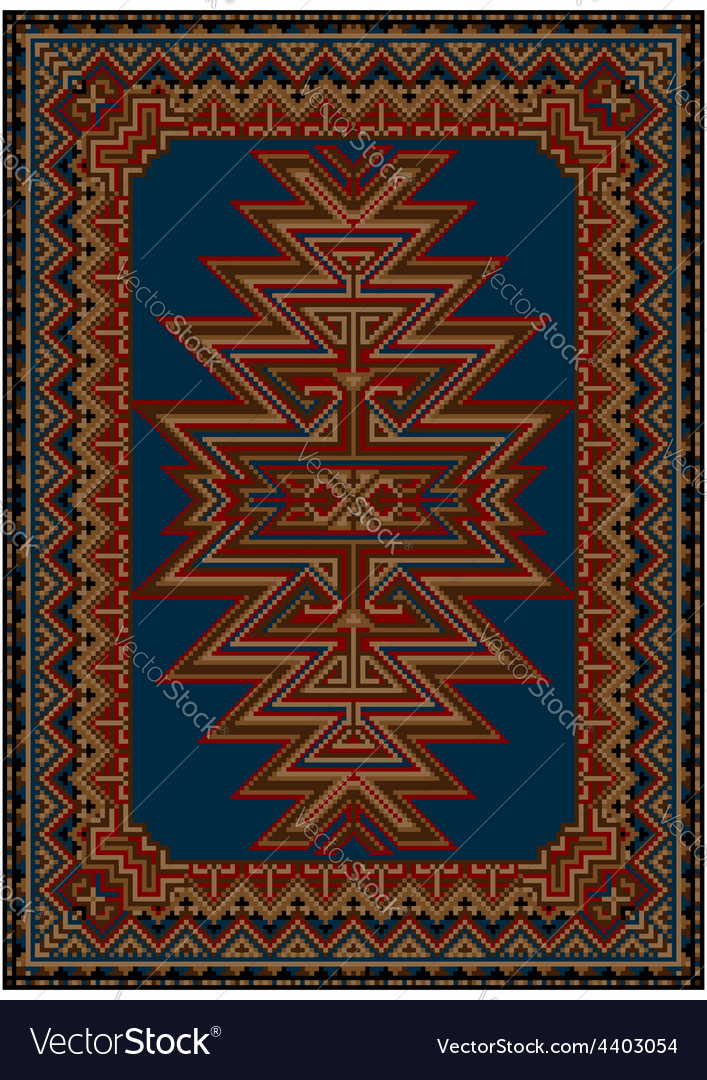 Carpet with original pattern on a blue background vector | Price: 1 Credit (USD $1)