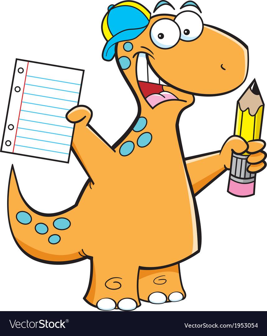 Cartoon brontosaurus with a pencil vector | Price: 1 Credit (USD $1)