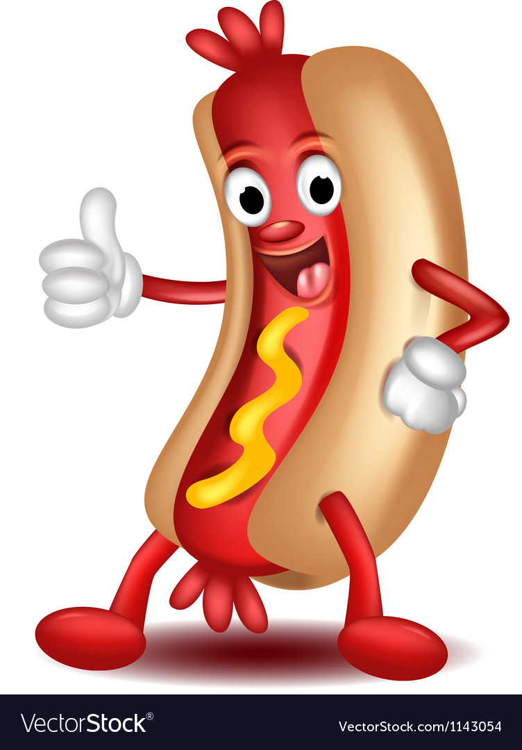 Cartoon hotdog vector | Price: 1 Credit (USD $1)