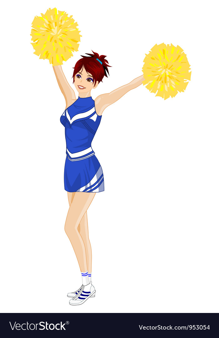Cheerleader with poms vector | Price: 3 Credit (USD $3)