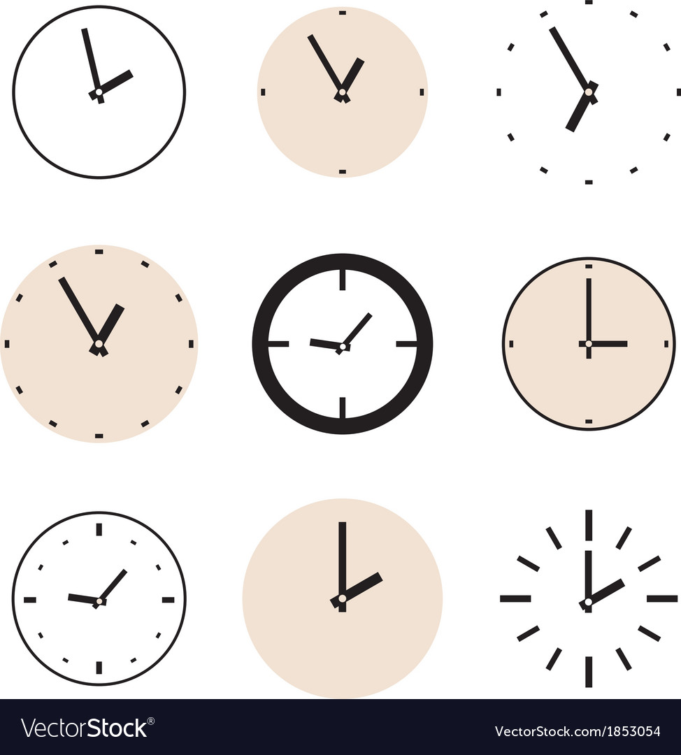 Clock icon set beige and black clocks isolated vector | Price: 1 Credit (USD $1)