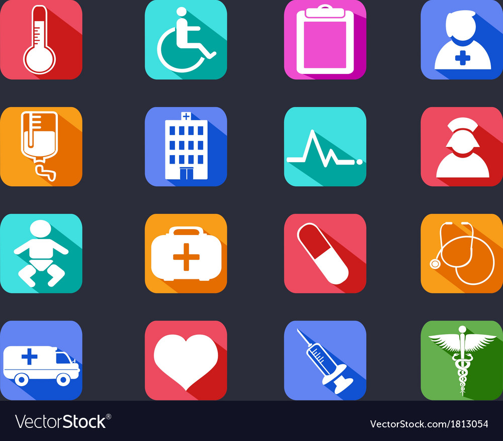 Flat medical long shadow icons vector | Price: 1 Credit (USD $1)