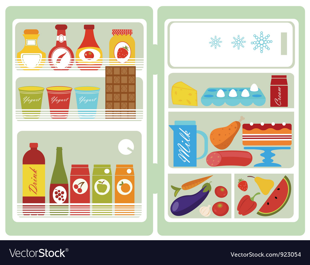 Open fridge vector | Price: 1 Credit (USD $1)