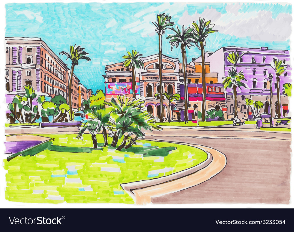 Original marker painting of rome italy cityscape vector | Price: 1 Credit (USD $1)