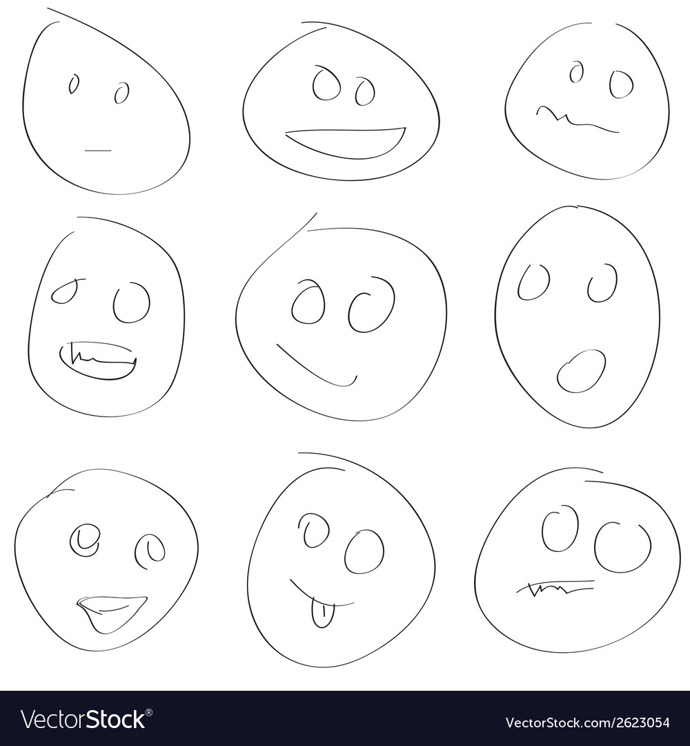 Scetch smile set vector | Price: 1 Credit (USD $1)