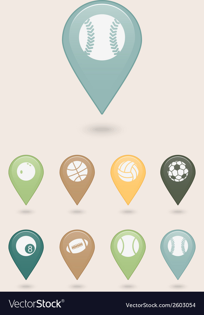 Sports balls mapping pins icons vector | Price: 1 Credit (USD $1)