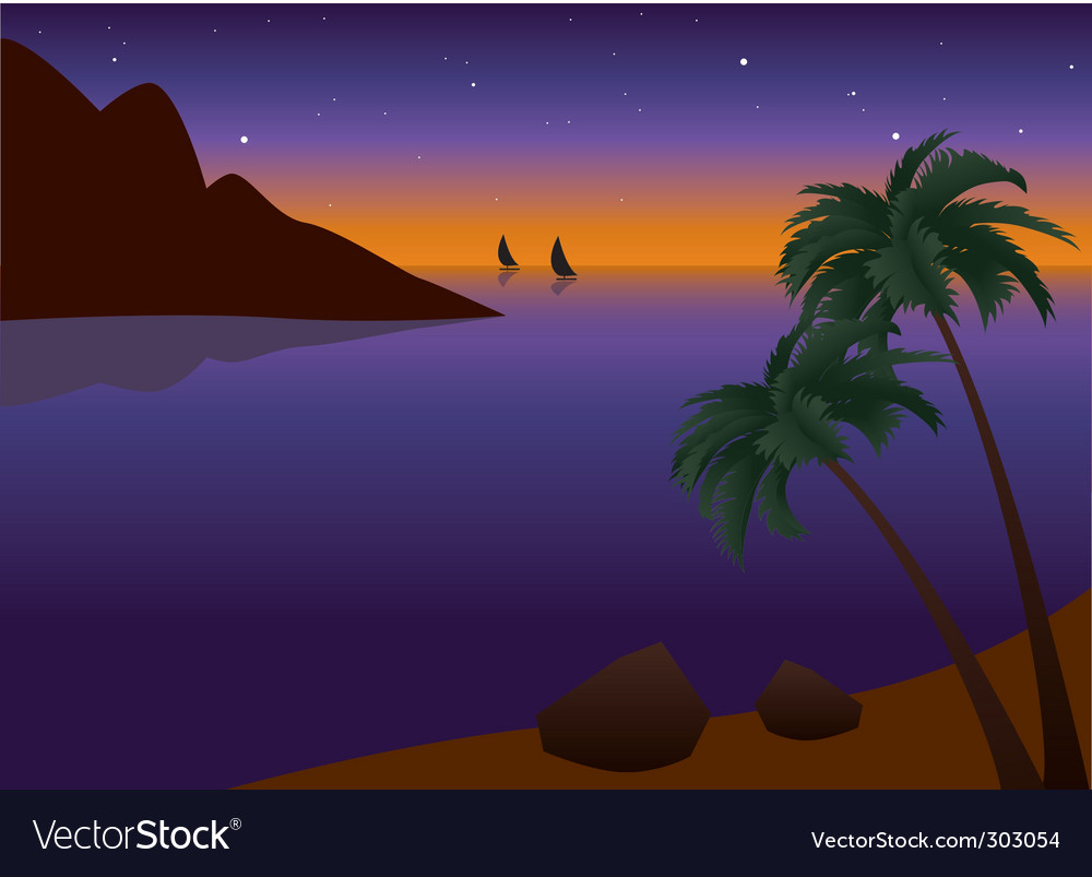 Tropical palm beach at sunset vector | Price: 1 Credit (USD $1)