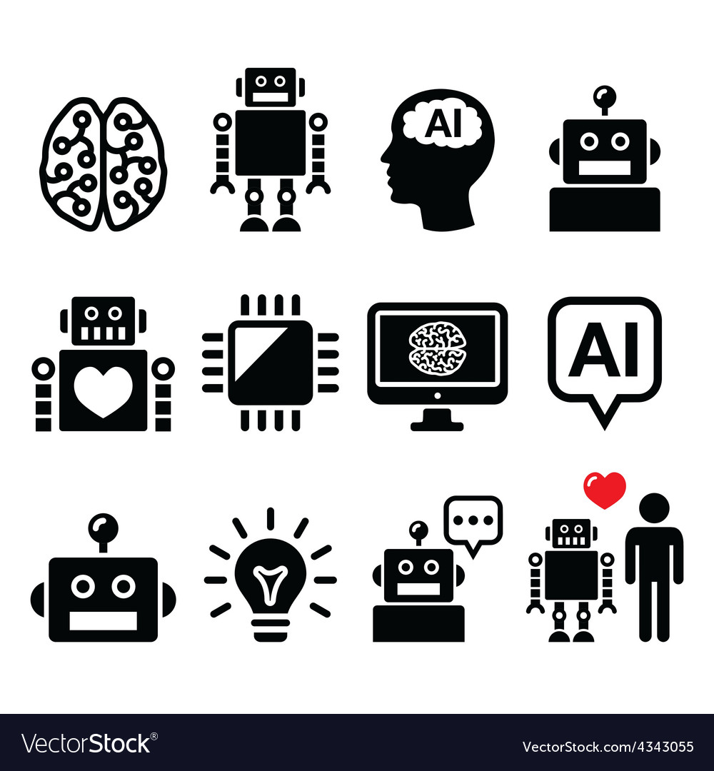 Artificial intelligence ai robot icons set vector | Price: 1 Credit (USD $1)