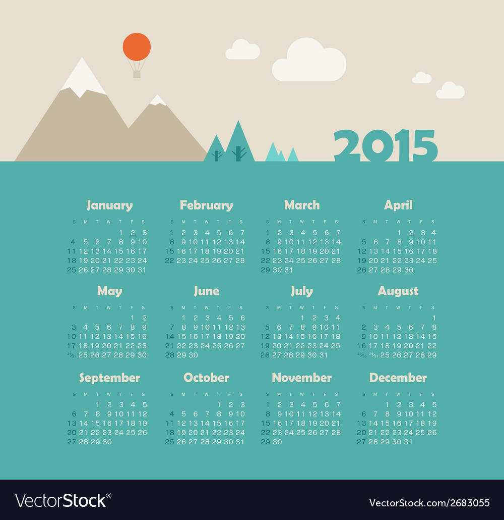 Calendar 2015 year with mountain landscape vector | Price: 1 Credit (USD $1)
