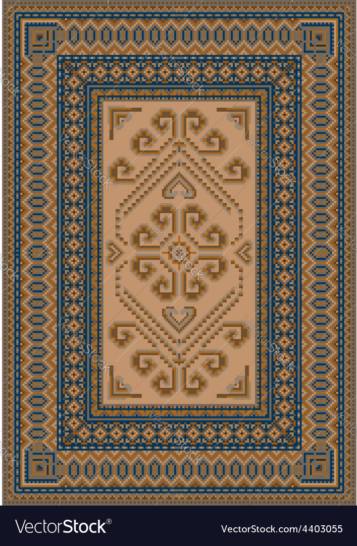 Calm coloring carpet with blue and brown shades vector | Price: 1 Credit (USD $1)