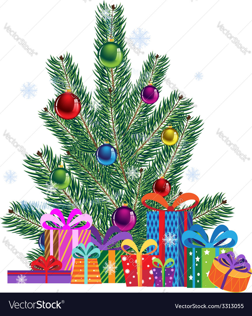 Christmas tree and gift boxes vector | Price: 3 Credit (USD $3)