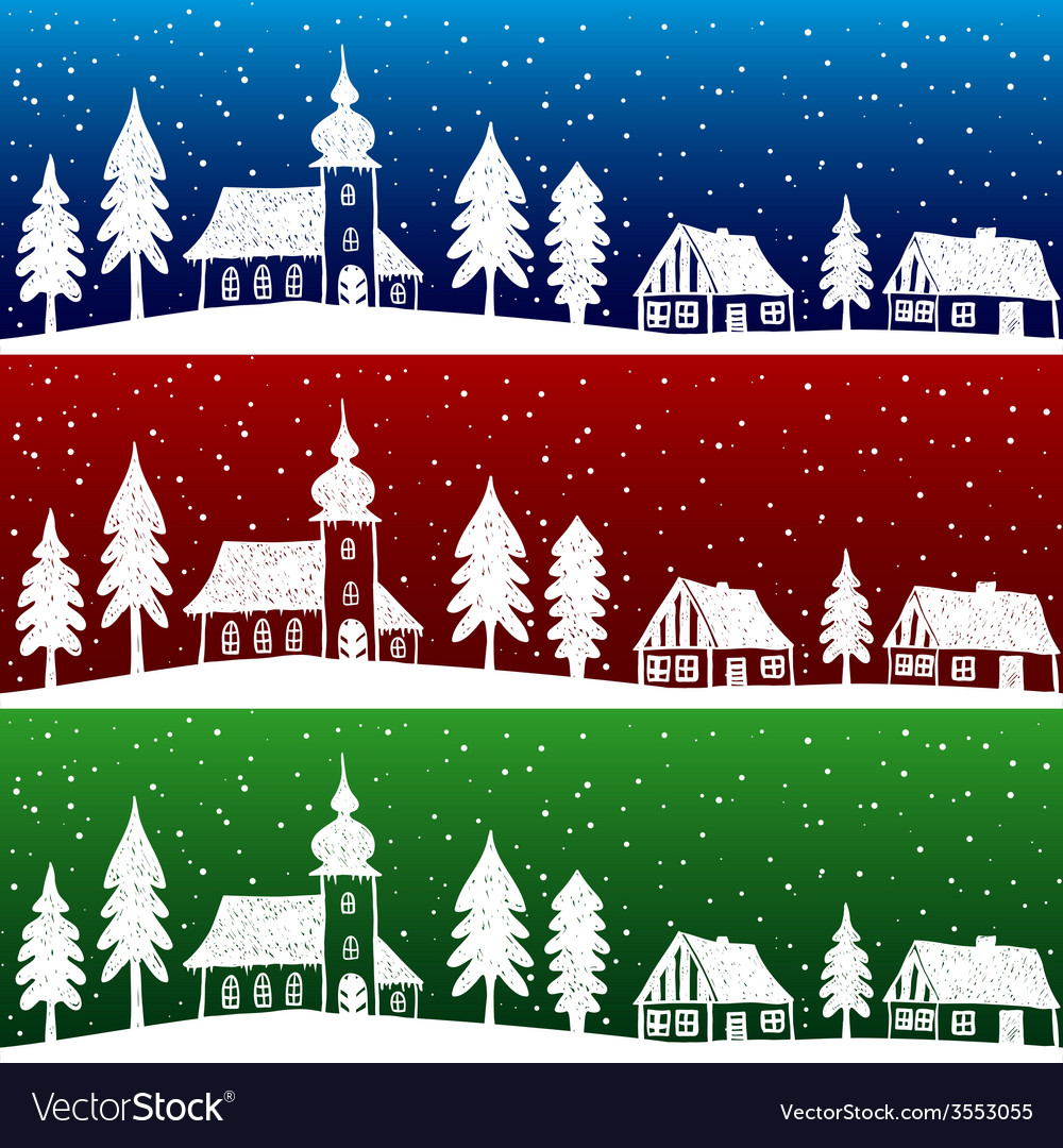 Christmas village with church seamless pattern vector | Price: 1 Credit (USD $1)