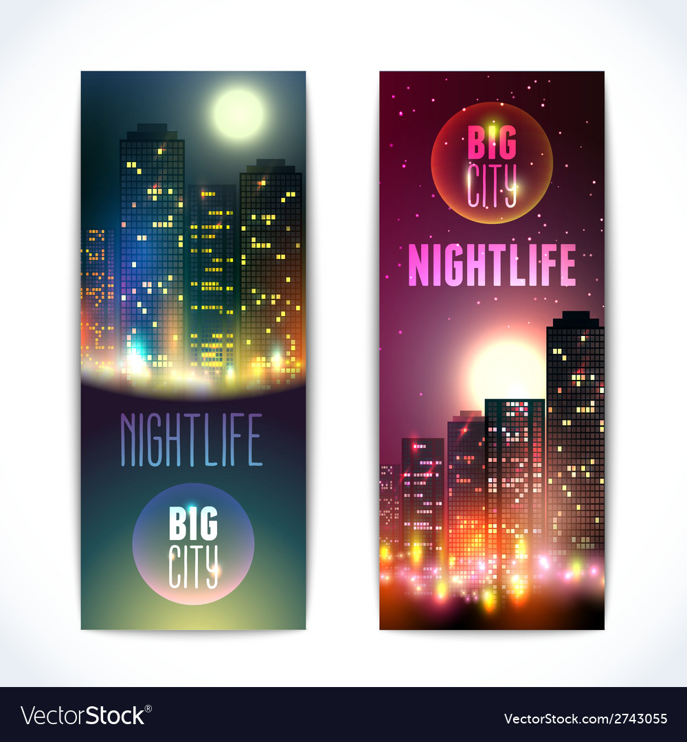 City at night vertical banners vector | Price: 1 Credit (USD $1)
