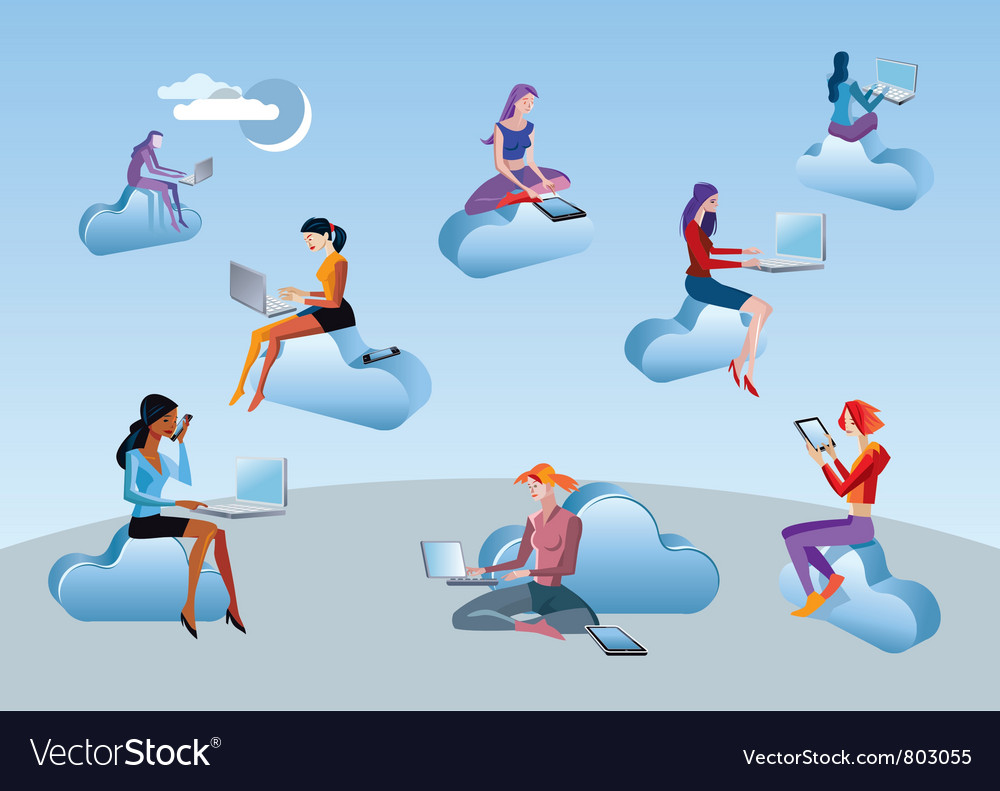 Cloud computing girls vector