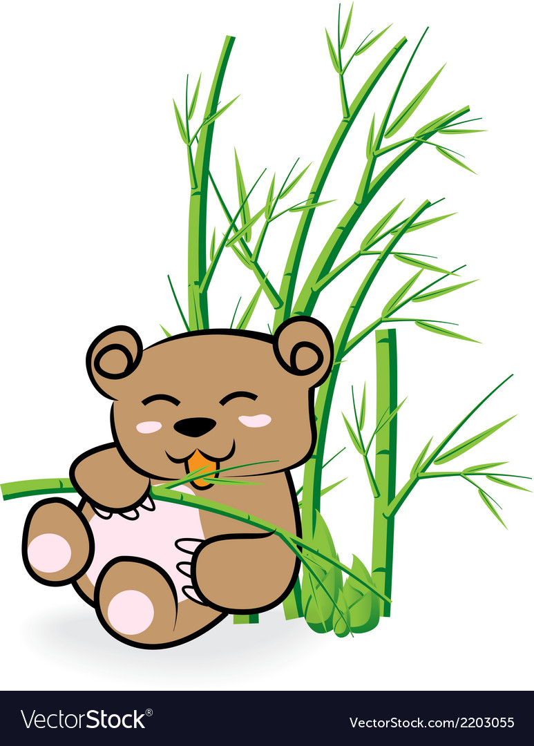 Cute bear in bamboo forrest 02 vector | Price: 1 Credit (USD $1)