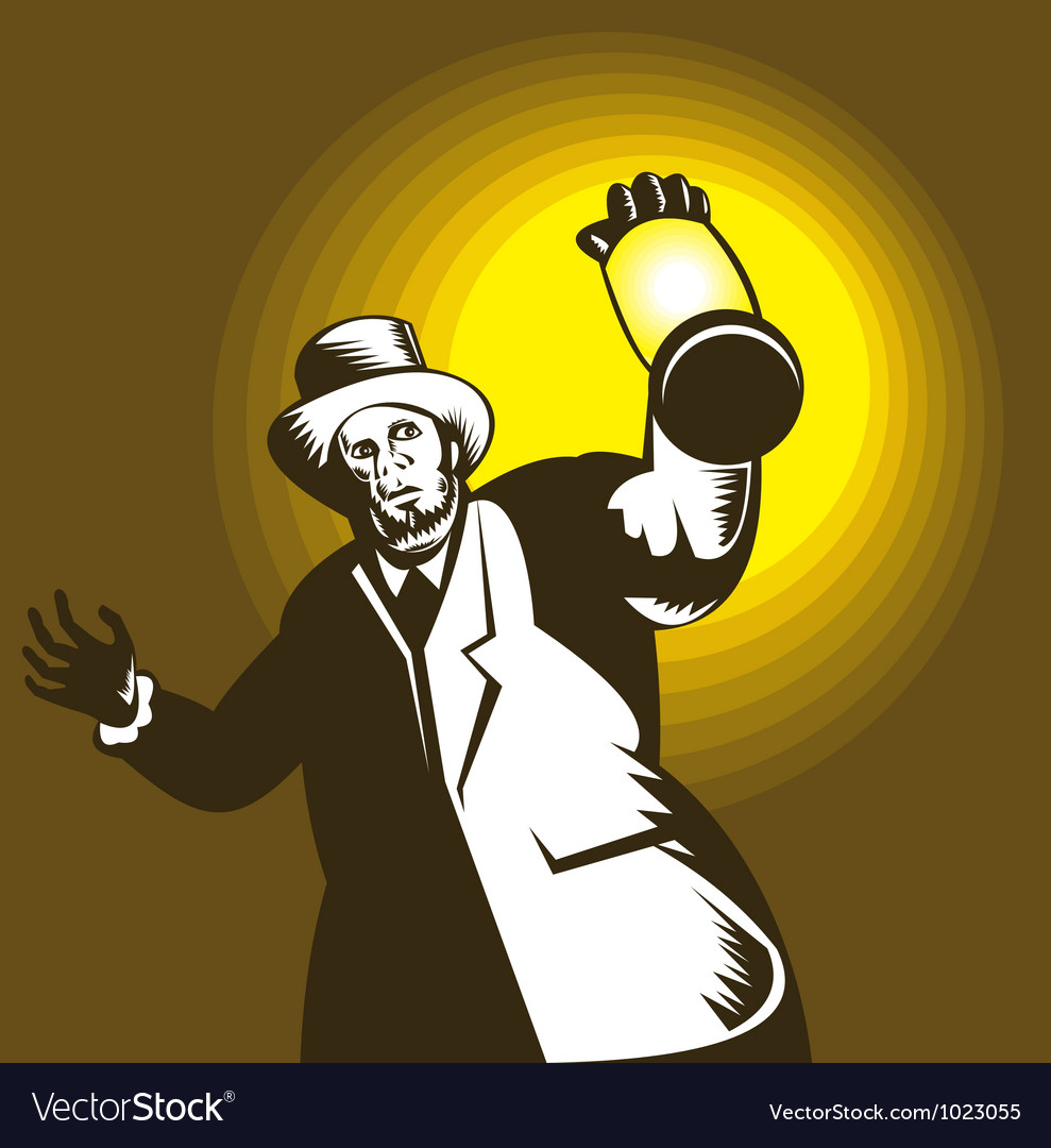 Man wearing top hat and holding lantern vector | Price: 1 Credit (USD $1)