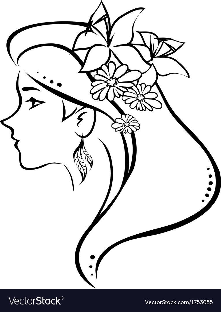 Symbolic profile woman with flowers in hair vector | Price: 1 Credit (USD $1)