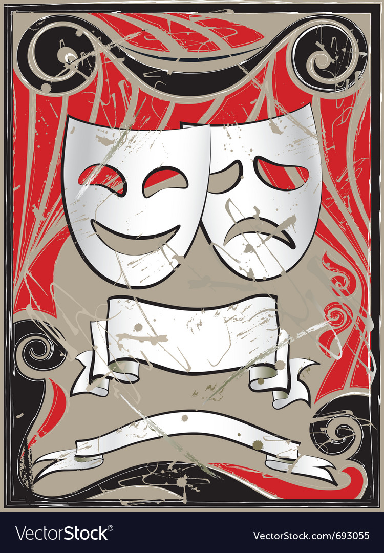 Vintage theater masks vector | Price: 1 Credit (USD $1)