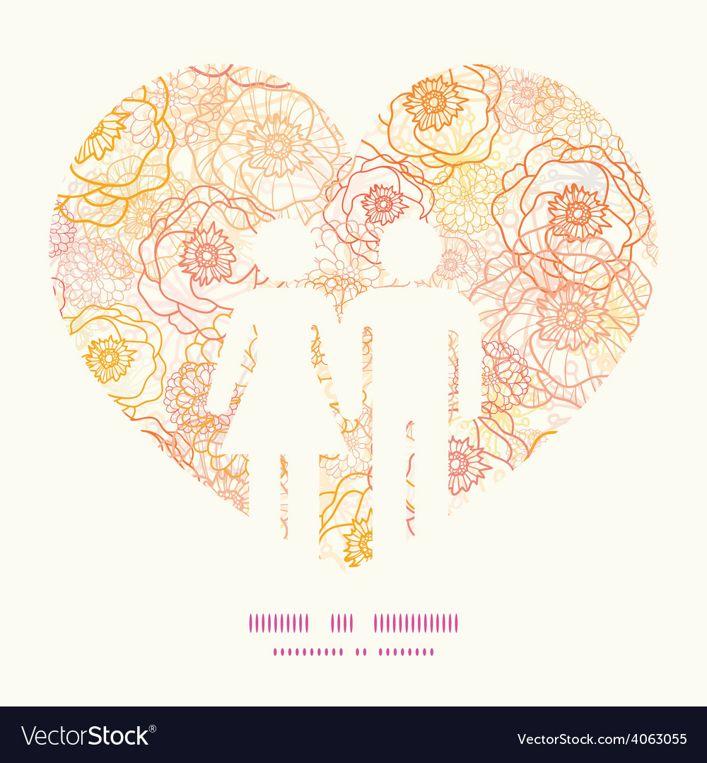 Warm flowers couple in love silhouettes vector | Price: 1 Credit (USD $1)