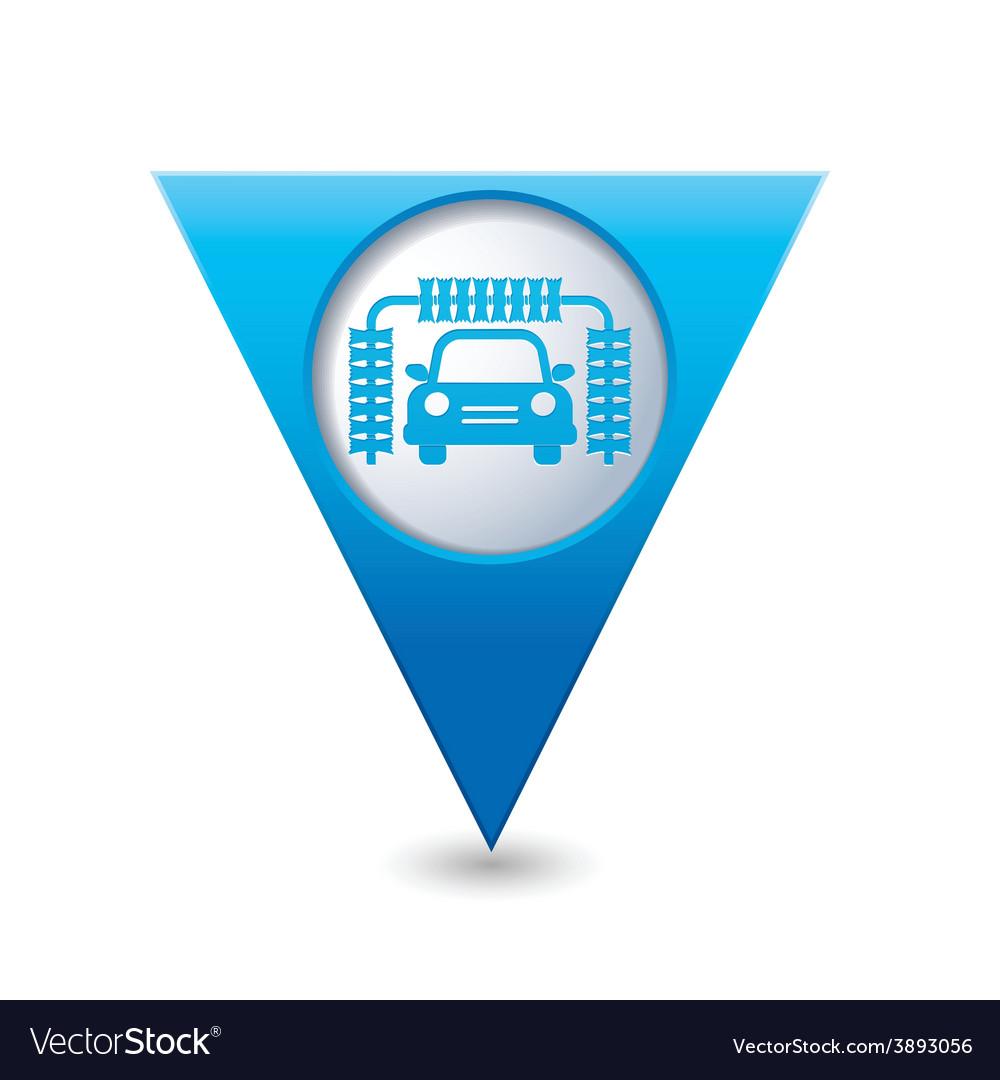 Car wash blue triangular map pointer vector | Price: 1 Credit (USD $1)