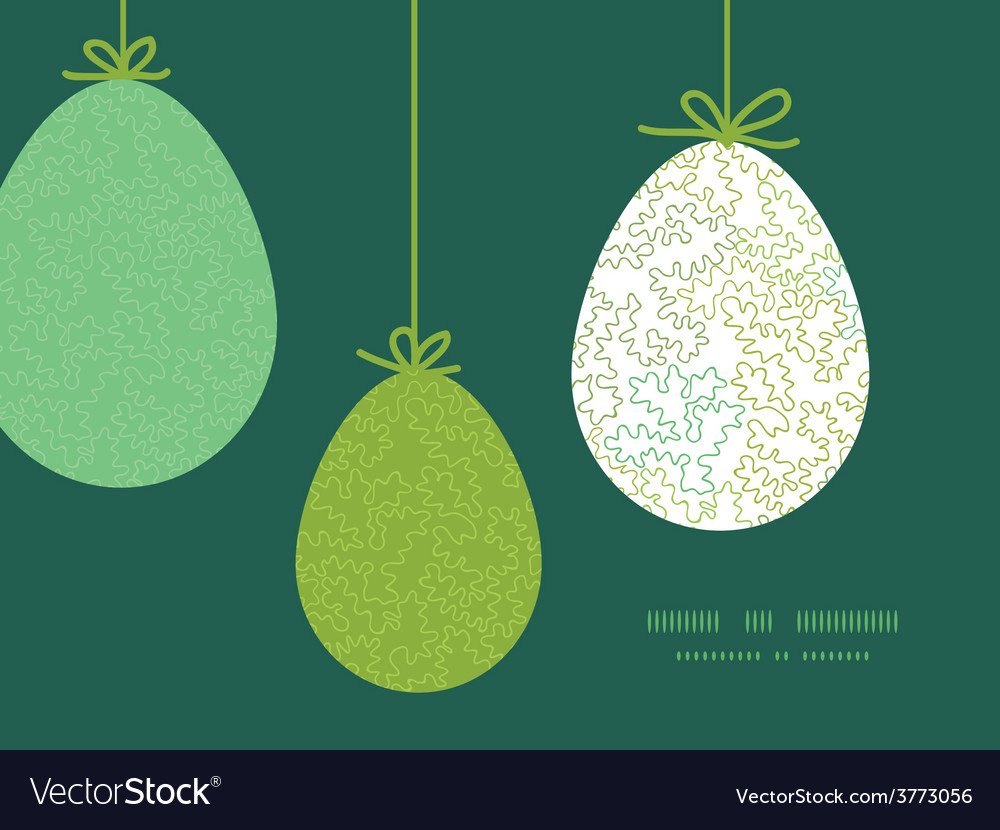 Curly doodle shapes hanging easter eggs vector | Price: 1 Credit (USD $1)