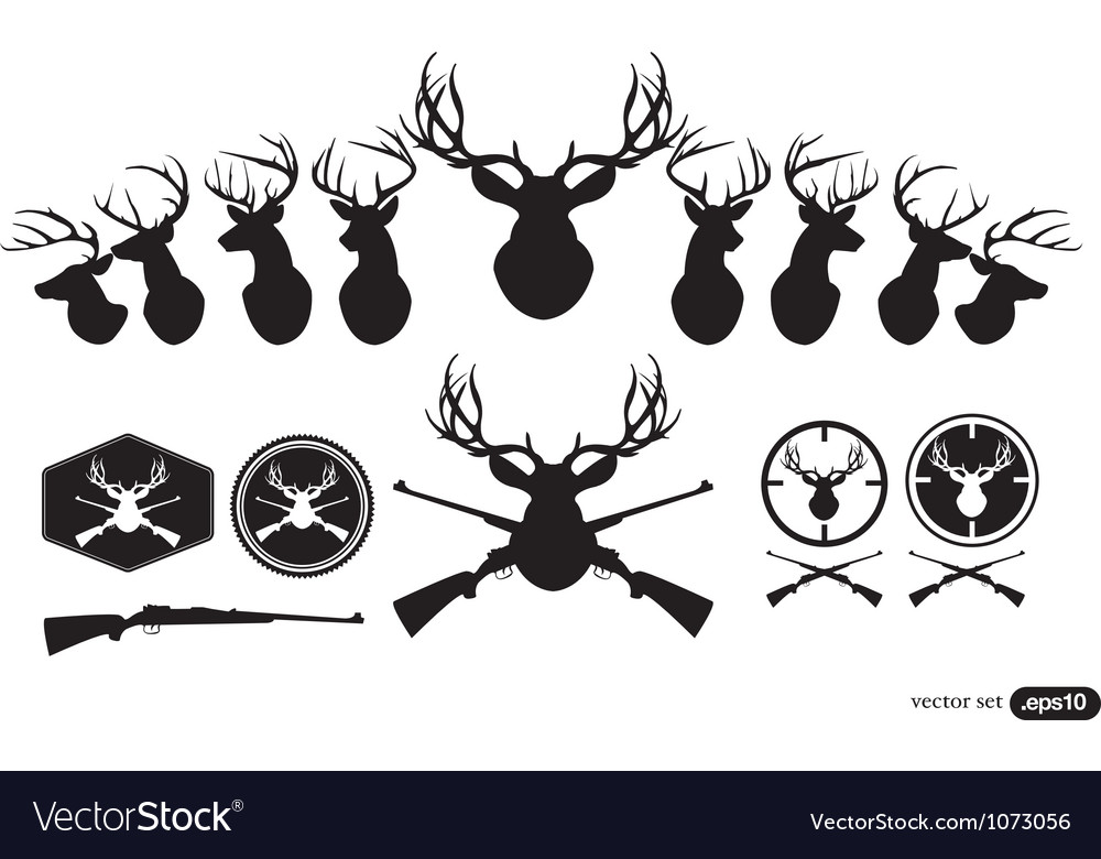 Deer hunter heads set vector
