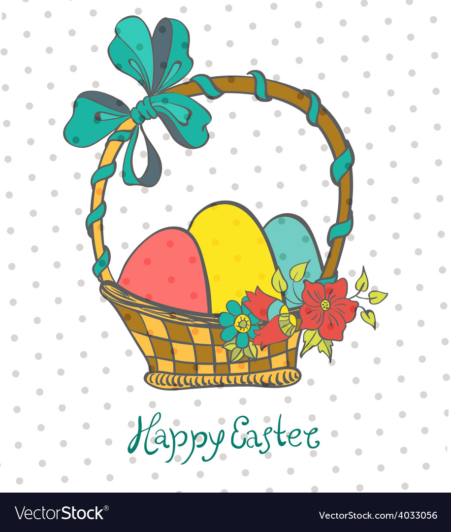 Easter card with eggs in basket and flowers vector | Price: 1 Credit (USD $1)