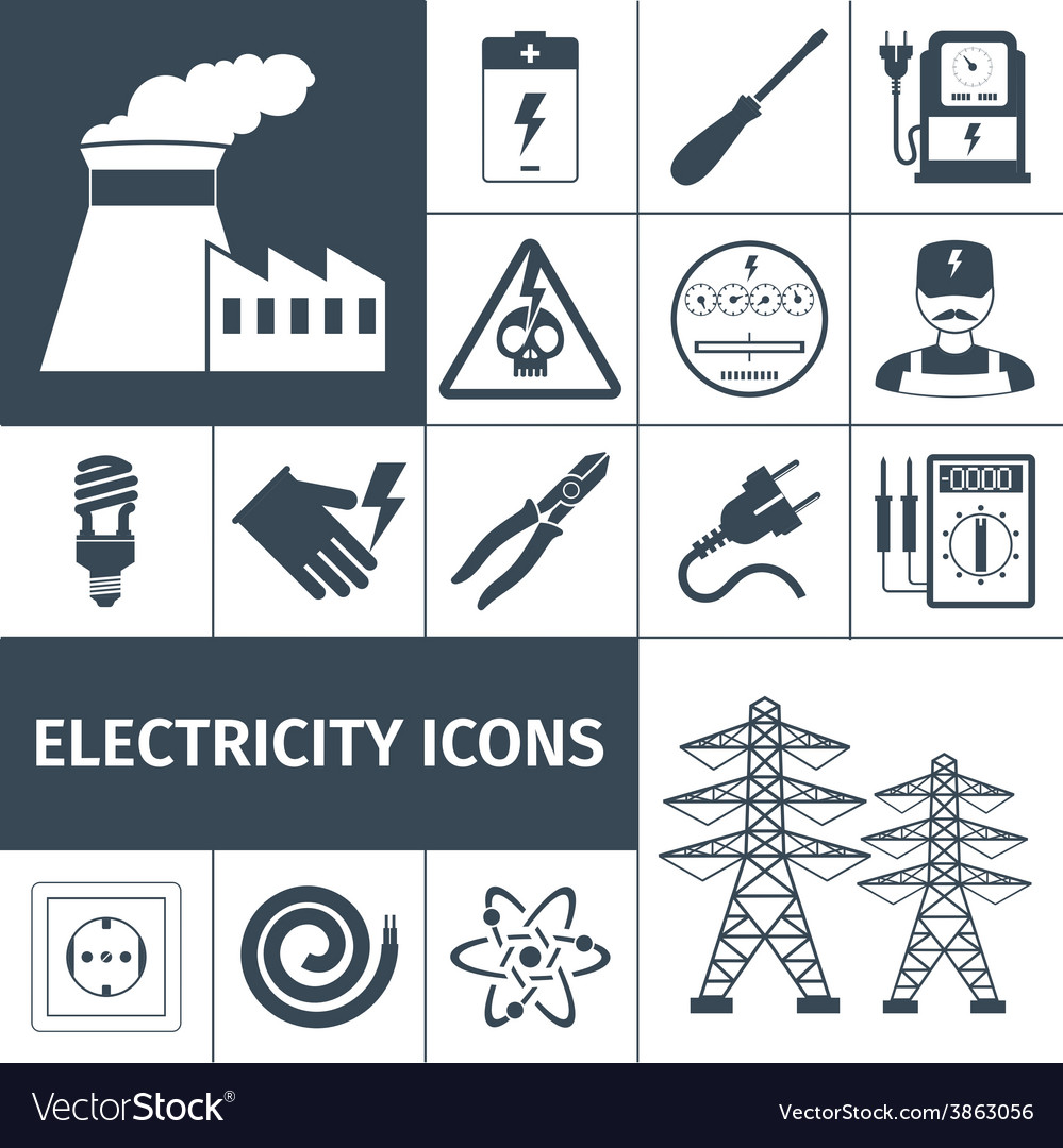 Electricity icons black set vector | Price: 1 Credit (USD $1)